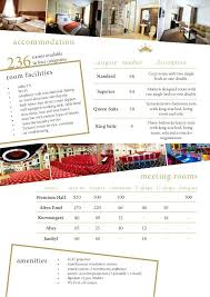 Hotel Fact Sheet Format Mesa Template Sample Yakult Co
