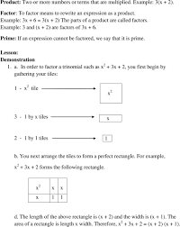 in order to factor a trinomial such as