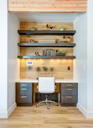 contemporary office design ideas. Small Space Contemporary Office Wooden Wall White Walls Chair  Cabinet Books Shelves Design Ideas
