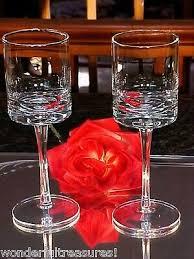 2 vintage unusual shape heavy toasting wine glasses curved stems