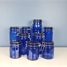 vintage cobalt blue glass jars set of 9 clamp lid air tight canister mason jars candy