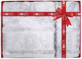 """<b>Набор</b> банных <b>полотенец</b> Bonita """"Дамаск"""", цвет: серый, 70 х 140 ..."""