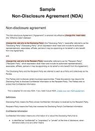 Simple Nda Template Free 9 International Non Disclosure Agreement Template Contract Free