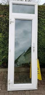 upvc double glazed full glass back door white with frame