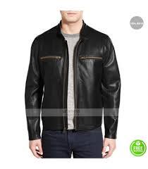 men s cole haan lambskin black moto jacket