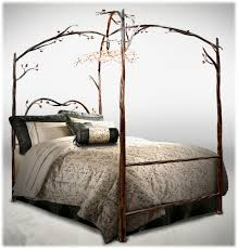 Delazious wrought iron canopy bed with detailed iron branches ...