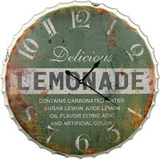 Round Decorative Metal Wall Clock Retro Antique Look <b>Lemonade</b> ...