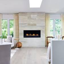 Modern Fireplace With Limestone Tile Surround
