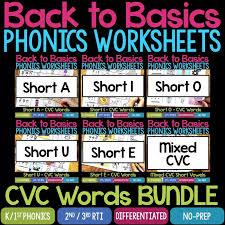 Cvc words worksheets and online exercises language: Back To Basics Phonics Worksheets Cvc Bundle