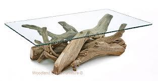 unique log coffee table with glass top