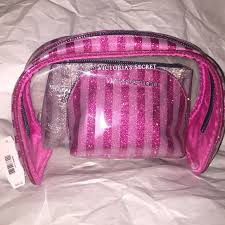 vs 3 piece sparkle glitter cosmetic bag pink set