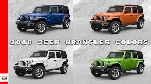 2015 Jeep Wrangler Color Chart 2018 Jeep Wrangler Colors