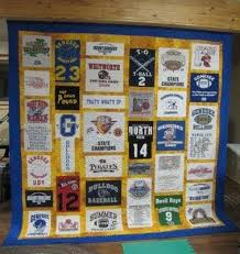 Quilting In The BunkHouse: T-Shirt Quilt Tutorial & Unlike the blue and gold quilt above, where the sashing was all one color,  for this next quilt, I was inspired by a t-shirt quilt over at Nana Girl  Quilts. Adamdwight.com