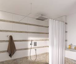 modern shower tension rod kohler curtain brushed nickel plastic with
