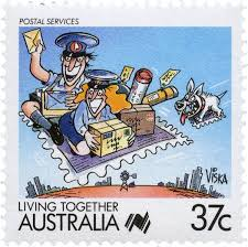 37 cent stamp featuring two postmen on a flying carpet stamp and loaded up with