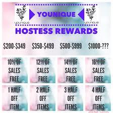 Hostess Sales Chart Younique Hostess Rewards Chart I Just Made Younique