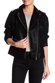 bnci by blanc noir faux leather moto jacket black leather faux leather 100 polyurethane