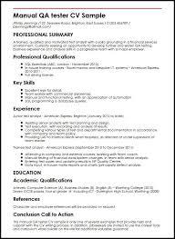 Tester Resume Samples Manual Qa Tester Cv Sample Myperfectcv