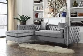 gray velvet sectional.  Sectional Iconic Home Da Vinci Tufted Silver Trim Grey Velvet Left Facing Sectional  Sofa With Tone Inside Gray S