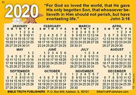 Tip Chart Wallet Card Gospel Pocket Wallet Calendar Laminated Full Color Card
