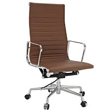 com modway ribbed high back office chair brown genuine leather aluminum series eames mid century