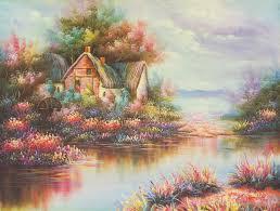 modern thomas kinkade landscape oil painting tk002