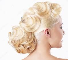 Eleganci Pohled Zezadu Blondýna S Společenský účes Stock