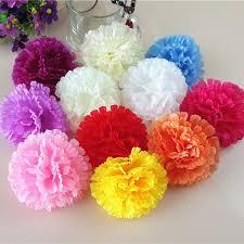 200pcs 9cm 11colors artificial carnation silk flower diy wedding decoration flowers wall flower bouquet kissing ball making artificial dried flowers