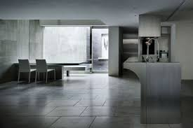 simple modern kitchen. Kitchen, Kitchen Simple Modern And Dining Room Design With Ceramic Floor Tiles Exposed Concrete