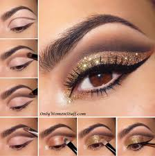 glittery golden cut crease eye makeup