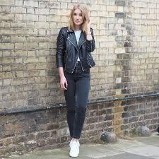 how to wear black leather biker jacket white crew neck t shirt