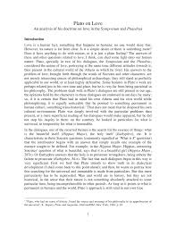 Pdf Plato On Love An Analysis Of His Doctrine On Love In The