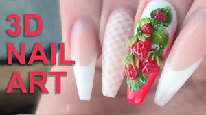 3D Acrylic Strawberries - Fresh Summer Fruits 3D Nail Art - Nail ...