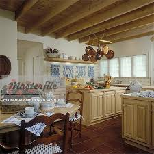 white traditional kitchen copper. KITCHEN - Traditional Kitchen Overall With Eating Area, Square Tile Floor, Tiled Blue And White Backsplash, Fish On Tile, Copper Pots , Hanging Pot Rack, C