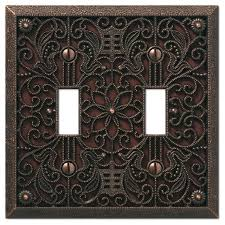 amerelle wall plate filigree cast 2 toggle wall plate aged bronze amerelle chelsea brushed nickel wall