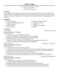 Automotive Technician Resume Stunning Automotive Technician Resumes Resumes Automotive Technician Resume