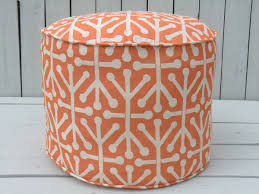 furniture charming round pouf ottoman in orange with stylish