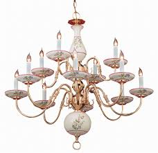 12 lights hand painted ceramic rose fl chandelier