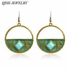 2018 qihe jewelry rustic blue stone big circle dangling chandelier earrings bohemian jewelry ethnic jewelry women gift for her boho from haif3
