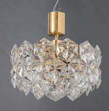 faceted hexagonal crystal three tier chandelier on gilt frame labeled kinkeldey