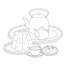 teacup and teapot drawing. Wonderful And Tea Party Outline Drawing For Coloring Pudding Tea Cup Pot Kettle For Teacup And Teapot Drawing N