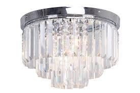 modern chrome crystal 3 tier flush chandelier