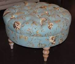 tufted furniture trend. round tufted hollins ottoman in daphne print by french laundry home furniture trend e