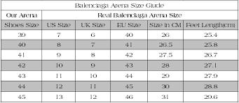 Christian Louboutin Size Chart Reviews Balenciaga Arena Size Chart Bedowntowndaytona Com