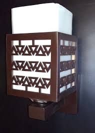 Wood And Glass Double Shade Wall Mounted Light