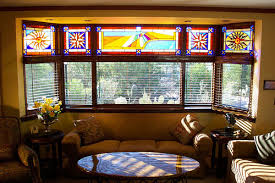 stained glass window shades bay window treatment ideas bay window treatments in pictures