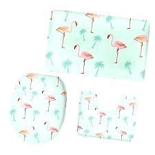 flamingo bathroom set pedestal rug lid toilet cover bath mat pink accessories themed pink bathroom decor