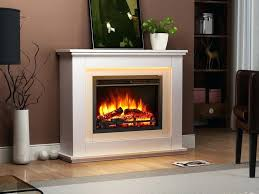 electric fireplace elegant with remote control in a light cream of luxury caesar linear wall mantel