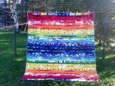 Marimekko quilt, Modern quilt, Patchwork quilt, Marimekko bedding ... & Modern quilt made from Marimekko fabric, Scandinavian rainbow patchwork  contemporary bed quilt, King, Queen Twin bed cover, stripe quilt Adamdwight.com