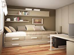 Small Bedroom Bed Small Room Wooden Reversible Bed On High Oak Shelves For Small